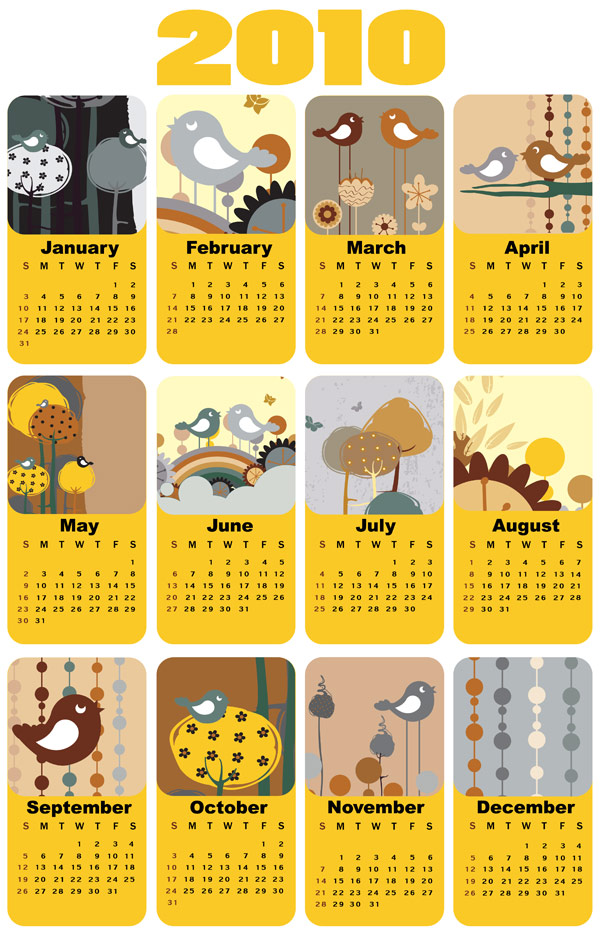 2010 カレンダー テンプレート ベクトル