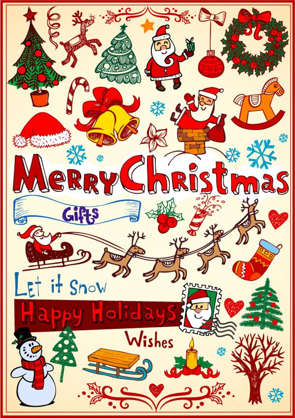 Los árboles de Navidad, coronas de Navidad, velas, campanas