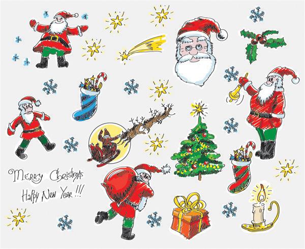 Pintado a mano Navidad dibujos vectoriales