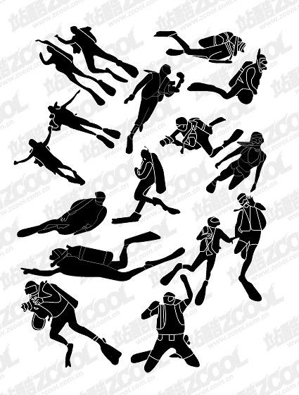 คน silhouettes vector ดำน้ำวัสดุ