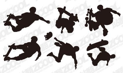 素材の 6 のスケート ボード アクション フィギュアをベクトルします。