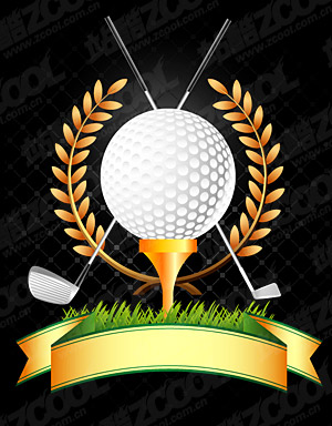 Golf, palos de golf, vector de trigo