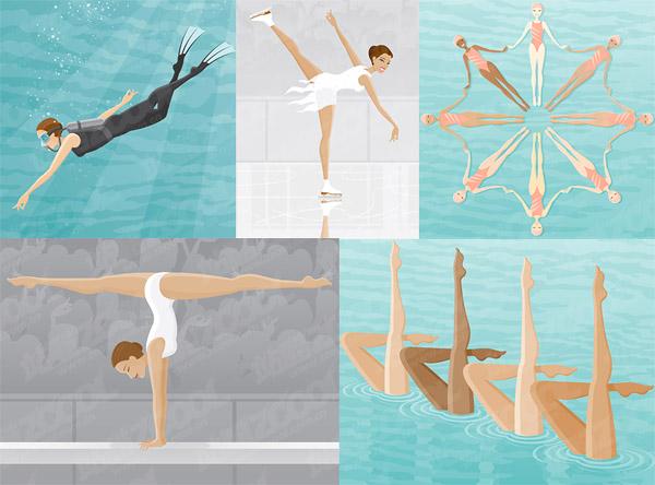 Plongée sous-marine, patinage synchronisé natation, gymnastique, poutre