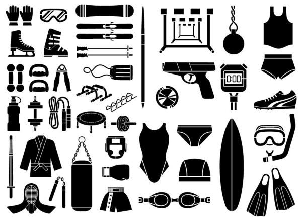 各種要素ベクトル材料 - スポーツ用品、機器タイプ (51 要素) のスケッチします。
