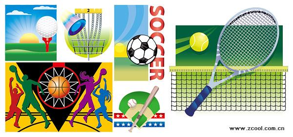 様々 なスポーツの材料のベクトル イラスト