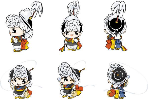 韓国の伝統衣装の人形のベクトル