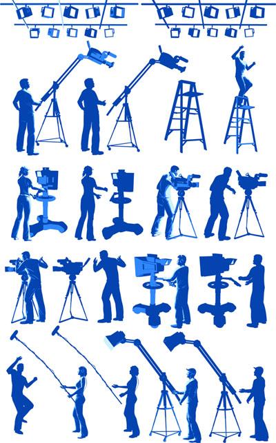 映画機器、照明、写真家、杉綾はしごベクトル
