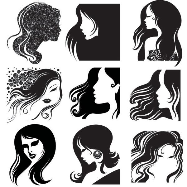Cabeza femenina, vector de pelo