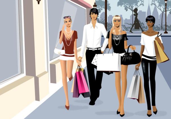 ベクトル材料の男性と女性のファッションのショッピング