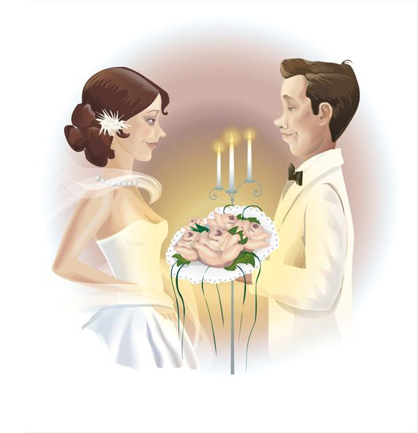 Couple de mariage matériel vecteur
