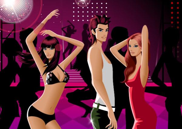 Baile de moda de hombres y mujeres relacionadas con material de vectores