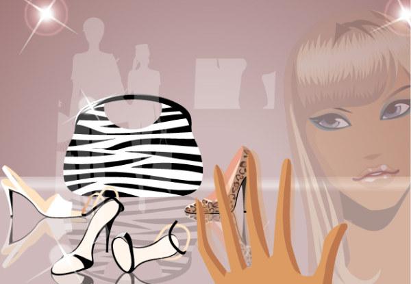 Exhibición de moda de vector de productos y materiales girls