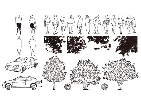 รถยนต์ ต้นไม้ เวกเตอร์