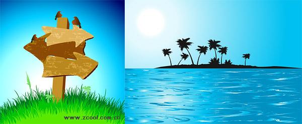 코코넛 야자수와 바다 섬 Guidepost 벡터