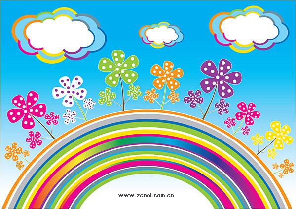 虹の雲ベクトル花