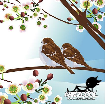 Vecteur de deux oiseaux