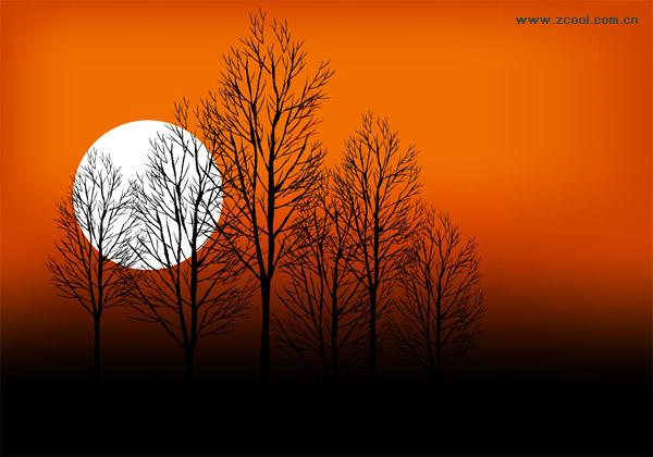 พระอาทิตย์ตกต้นไม้พลบค่ำ Moon เวกเตอร์