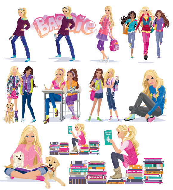 Девочки, книги, щенок вектор