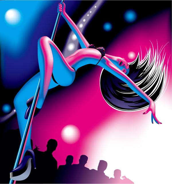 Bailarines de danza de acero de vectores
