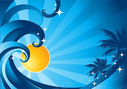 Солнечной волновой вектор кокосовых пальм