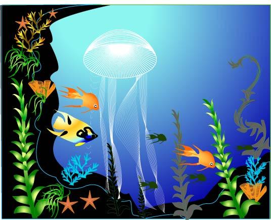 Vetor de mundo subaquático