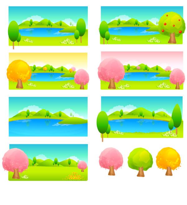 Bäume und See Farbvektor