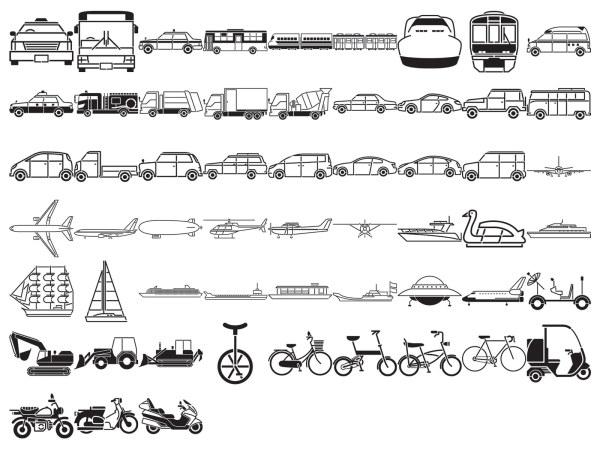バス、タクシー、ミキサー、船、スペースシャトル、油圧ショベル