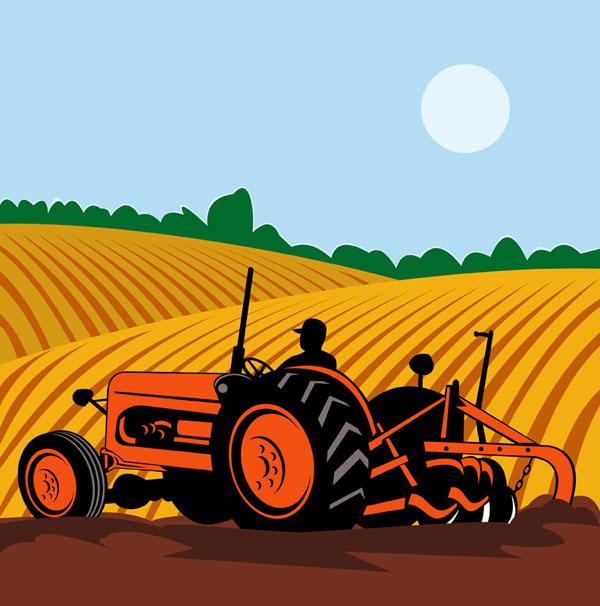 Agricultura, maquinaria, vector de campo