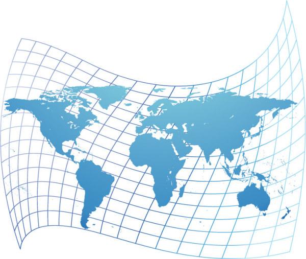 世界のベクトルの歪んだ地図