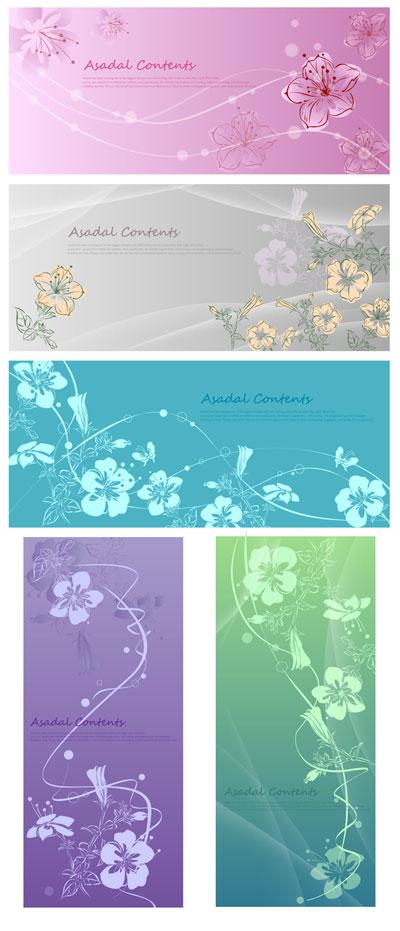 Flores pintados a mano de vectores de fantasía