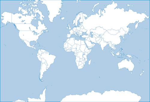 โลกแผนที่รูปเงาดำเวกเตอร์