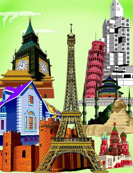 Wahrzeichen Gebäude der Welt