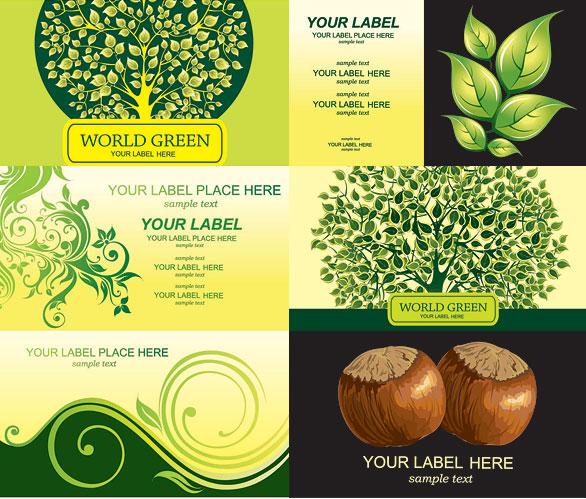Árboles, castañas tarjeta plantillas
