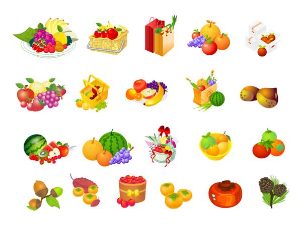 Cesta de frutas, avellana, vector de caqui