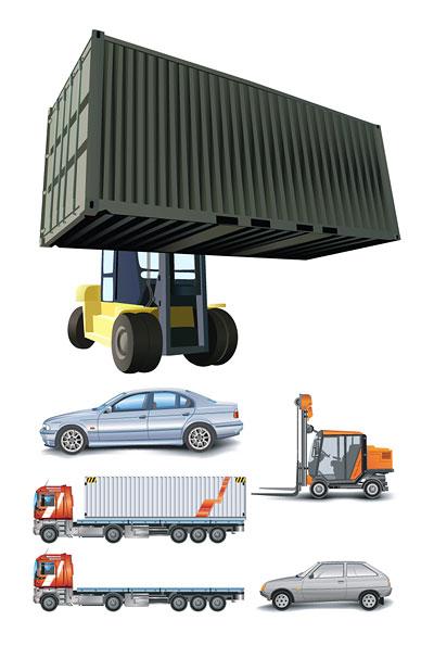 車、コンテナー車、トラック、大型車、フォーク リフトのベクトルを持ち上げる
