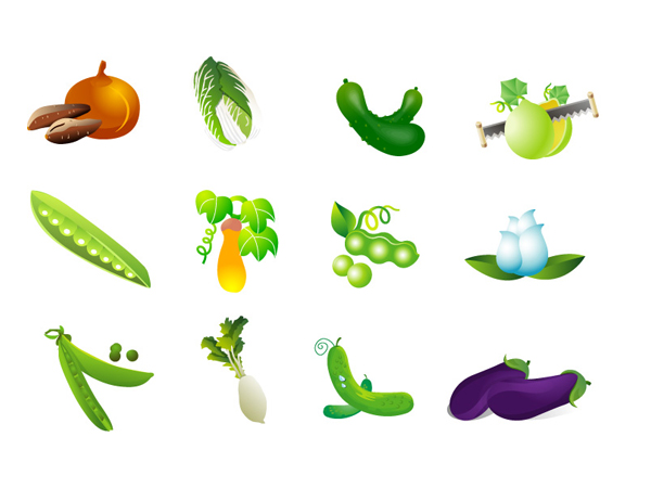 Légumes vecteur - chou, les patates, les radis aubergines et haricots