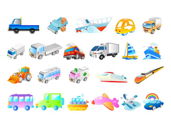 ベクトルの船、飛行機、車、救急車