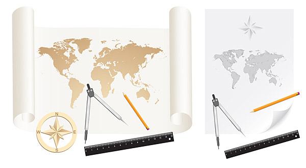 地図、ベクター、素材、紙、紙ロール、世界地図