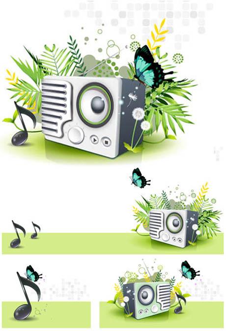 音楽スピーカー蝶タンポポ緑春のベクター素材