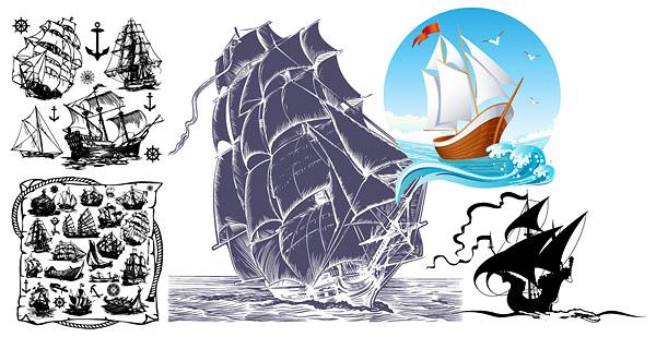 Vector de tema de barco de vela