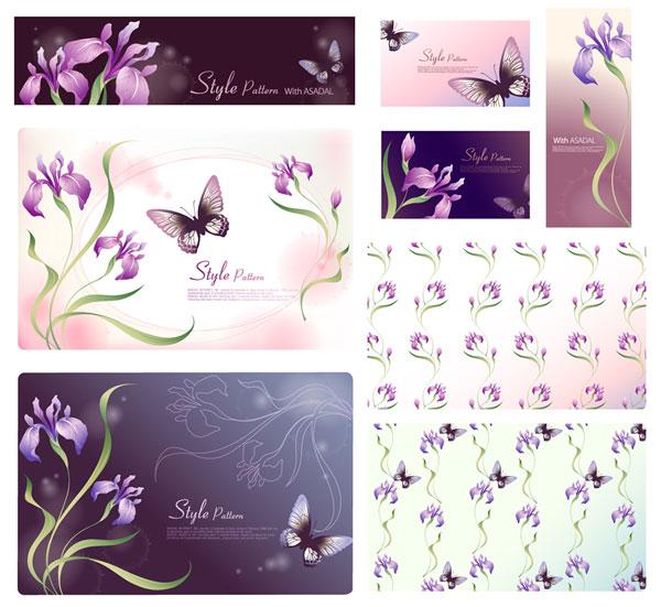 Material de flor de fantasía de vectores -17