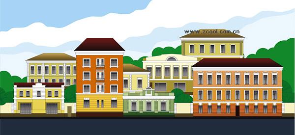 Paisaje de ciudad de caricatura vector