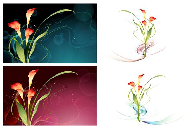 벡터 판타지 꽃 소재-15