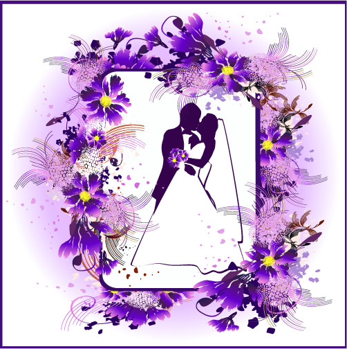 Mariage, baisers, fleurs vecteur matériel