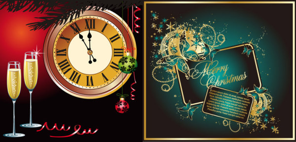 Champagne Clock Butterfly Vector