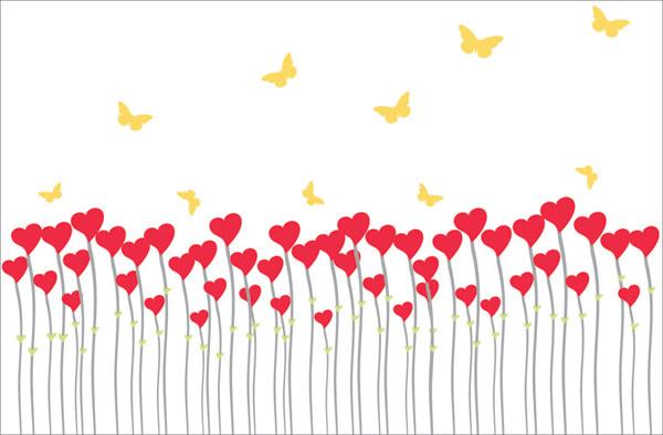 Papillon matériel vecteur en forme de cœur