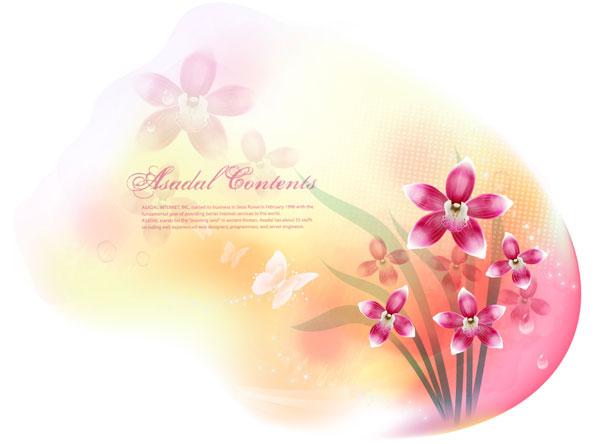 เวกเตอร์แฟนตาซีดอกไม้วัสดุ-13