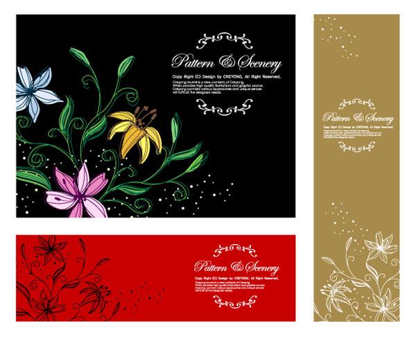 Flores pintados a mano de vectores-1