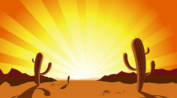ทะเลต้นกระบองเพชร พระอาทิตย์ตก ทราย ร้อนเวกเตอร์