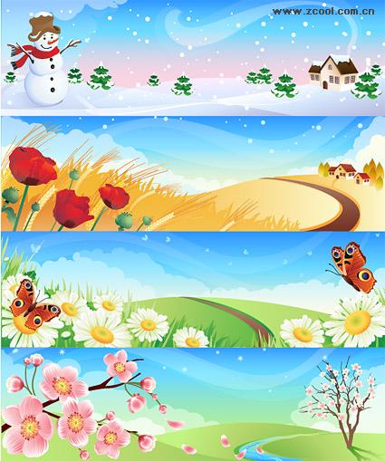 Primavera verano otoño invierno paisaje